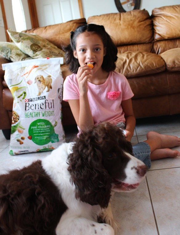 Girl and dog with Beneful