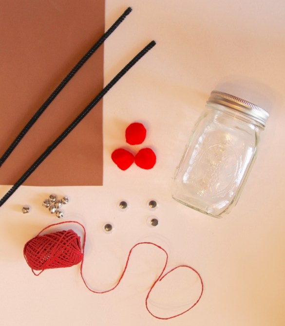 materials for DY reindeer mason jars last minute Christmas gift