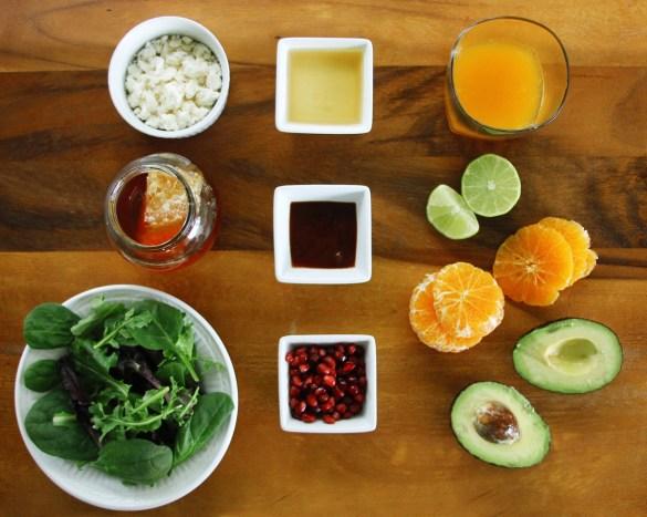 Avocado Tangerine salad with spicy vinaigrette ingredients