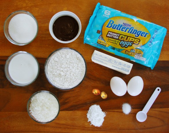 Easter Chocolate Coconut Surprise Cupcakes ingredients