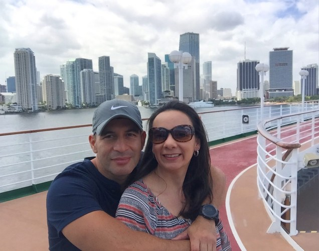 Cruising aboard Fathom's Adonia with the Miami skyline in the background