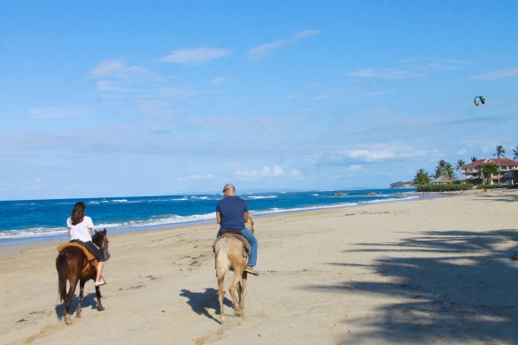 horseback riding on the beach at Cabarete beach