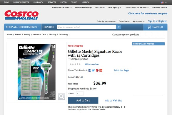 Gillette Signature at costco's website