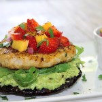 Portobello fish burger with avocado and strawberry mango salsa