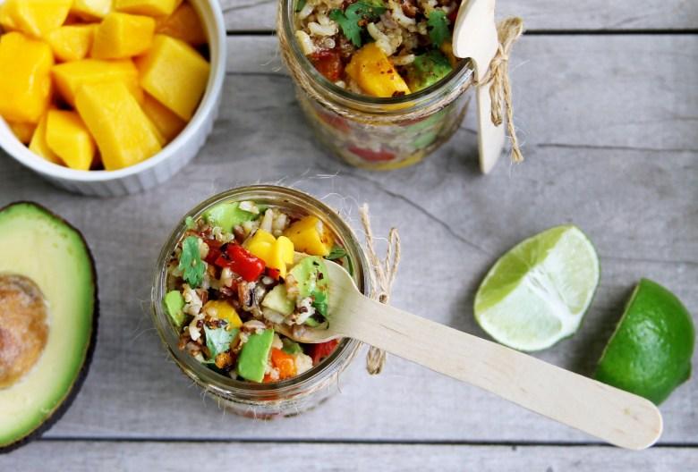 5 minute avocado and mango rice salad