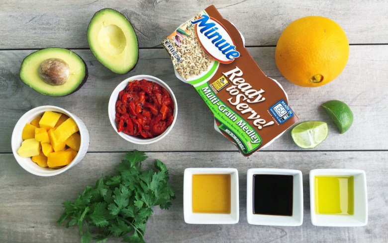 ingredients for 5 minute avocado and mango rice salad