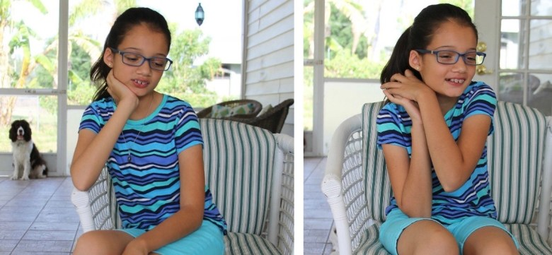 Latino Hispanic girl with glasses