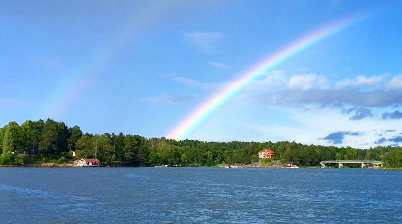 Stockholm archipelago view with double rainbow