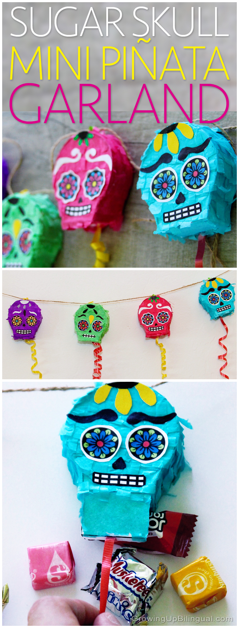 DIY Day Of The Dead Sugar Skull Piñata Garland - Growing Up Bilingual