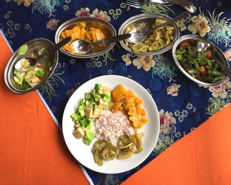 Delicious Bhutanese vegetarian dishes.