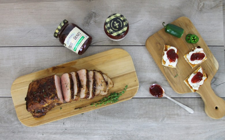 Strawberry jalapeno glazed pork tendderloin