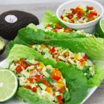 Avocado and chorizo egg salad lettuce wraps
