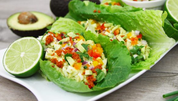 Avocado and chorizo egg salad lettuce wraps