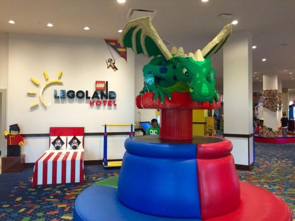 Lego dragon in the hotel lobby