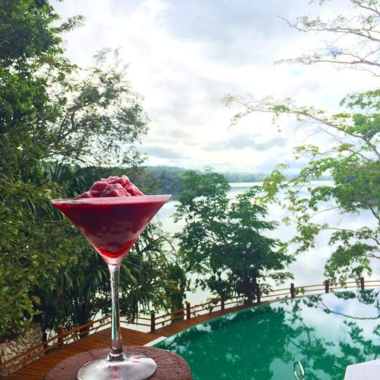 Las Lagunas Hotel welcome Rosa de Jamaica cocktail.