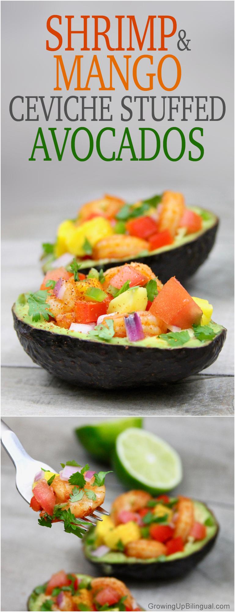 Shrimp and mango ceviche stuffed avocados