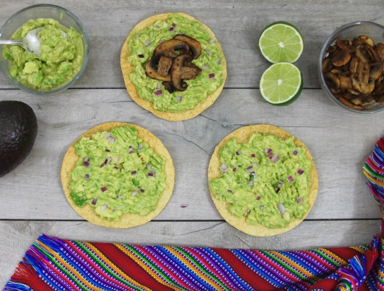 avocado and chipotle mushroom tostadas
