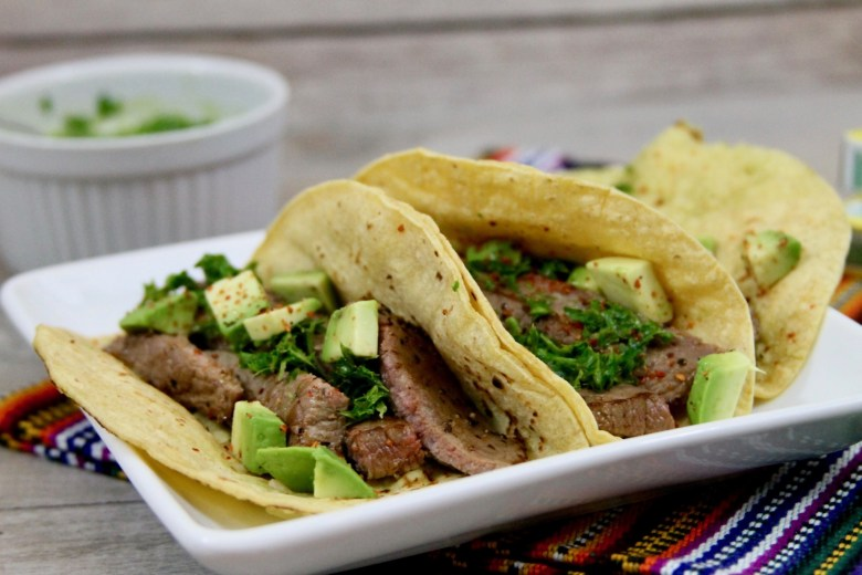 churrasco tacos with chimichurri sauce