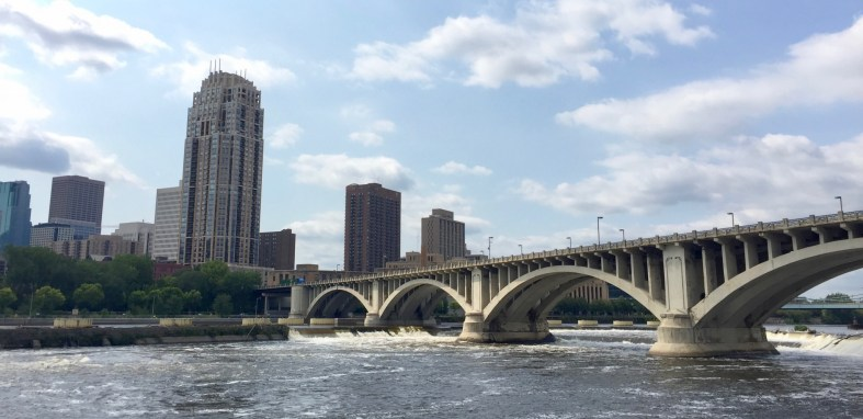 View of the Mississippi river and Minneapolis from a bike trail.