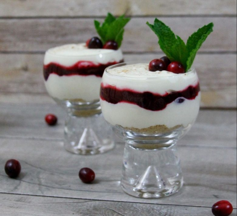 No-bake Eggnog Cheesecake Cranberry Parfait recipe