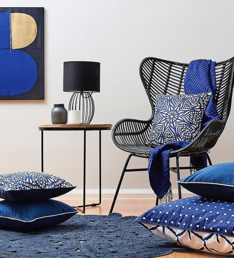 living room with blue hues