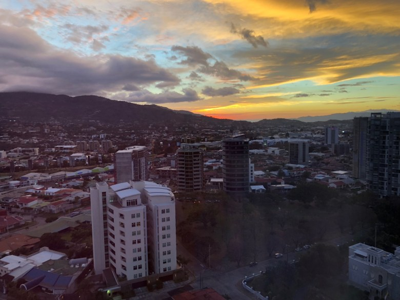 Sunset over San José, view from Hilton Garden Inn San José La Sabana