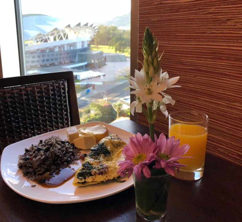 A traditional Costa Rican breakfast with Gallo Pinto and salsa Lizano
