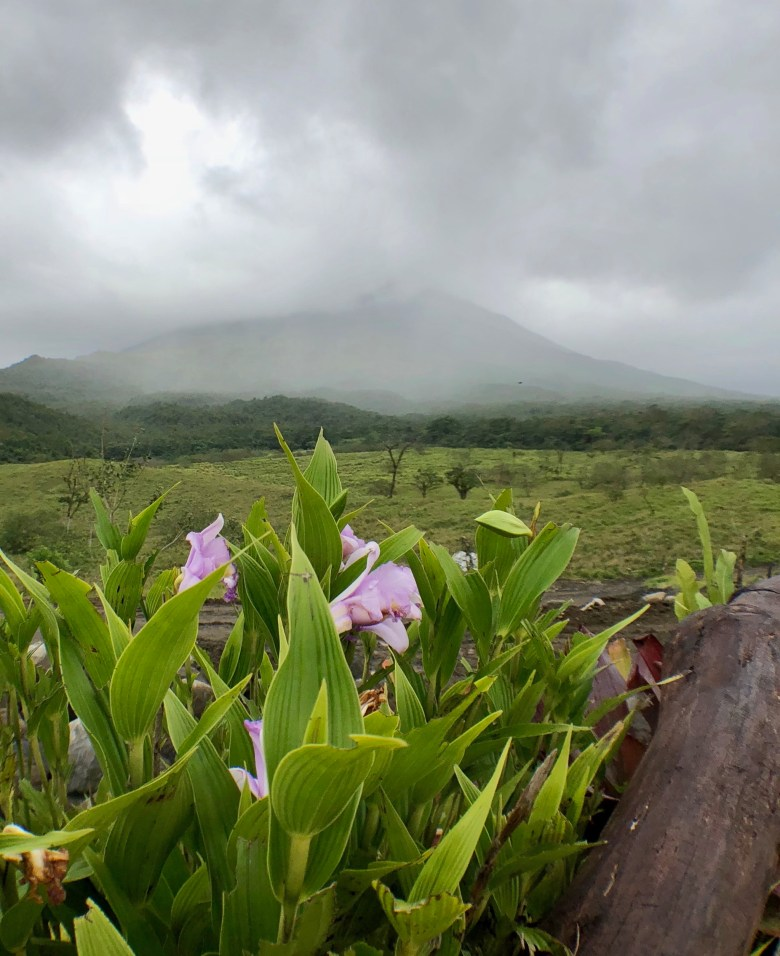 Arenal volcano covered by clouds
