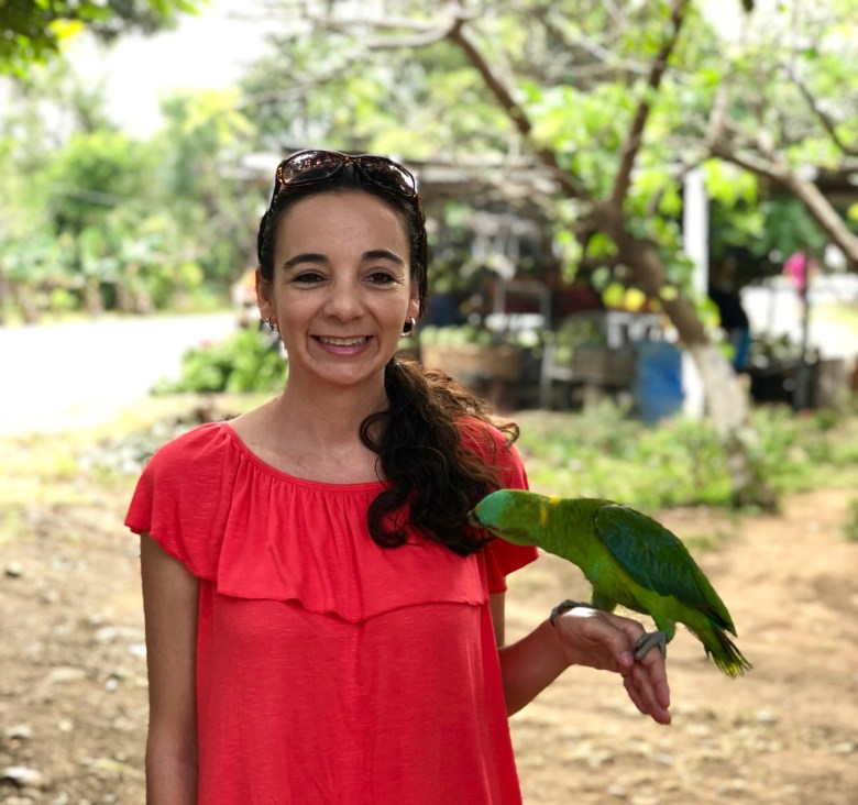 making friends with a local parrot
