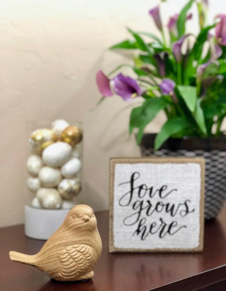 JCPenney spring home decor bird vignette