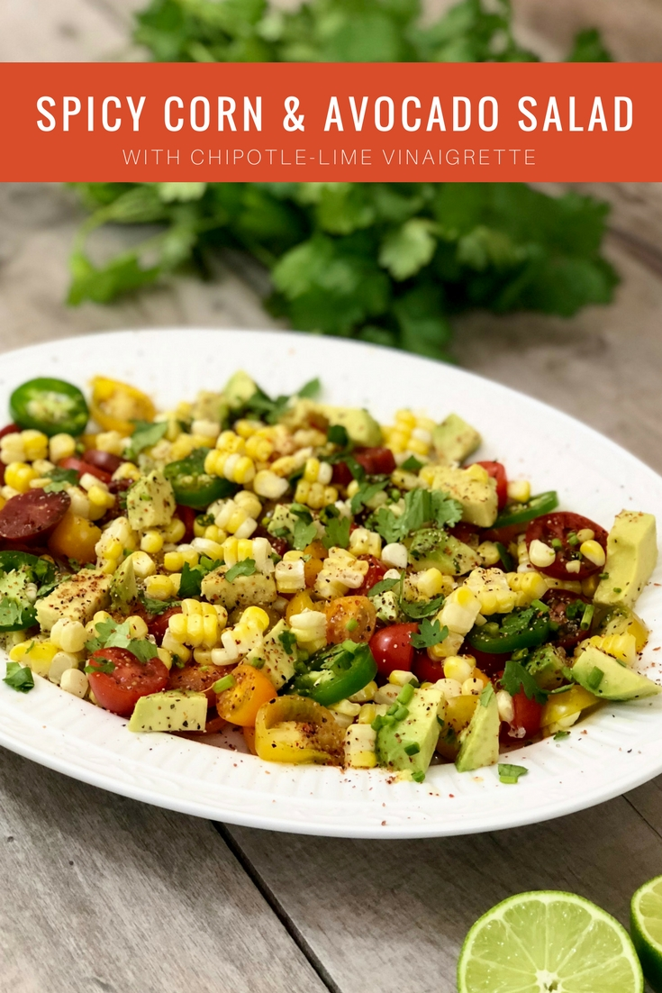picy corn and avocado salad with chipotle-lime vinaigrette