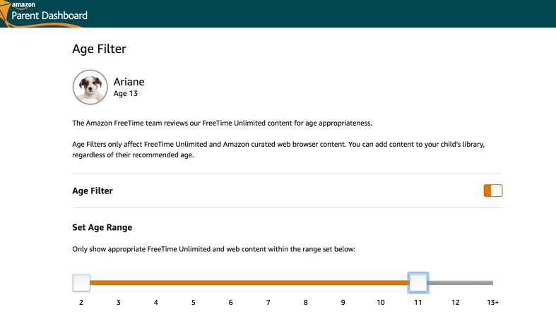 Amazon FreeTime Parental Controls