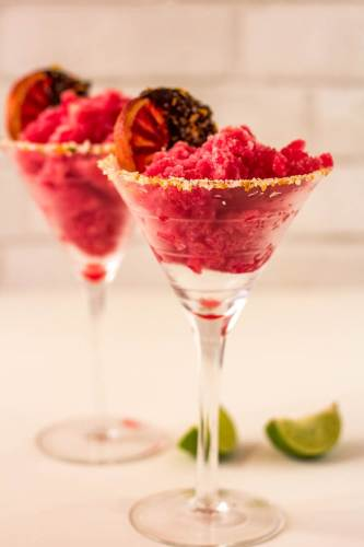 Blood Orange Margarita Sorbet: Frozen cocktail dessert recipes