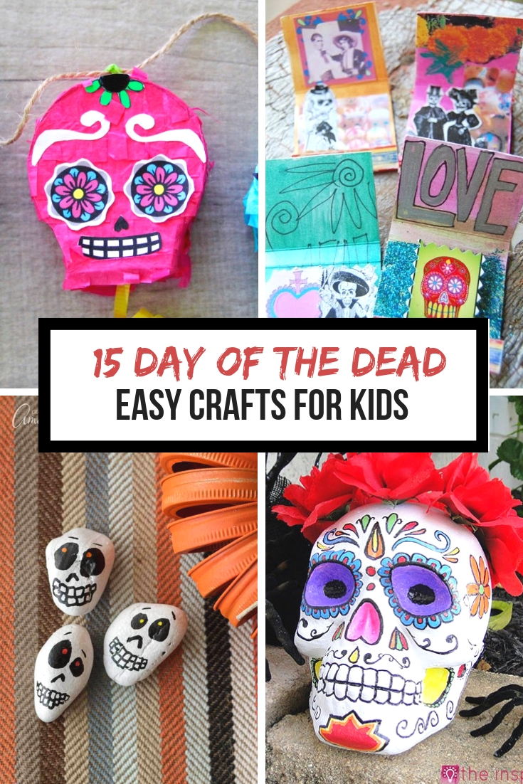 5 easy Day of the Dead Crafts for kids. These make the perfect art project for kids to learn about Dia de los Muertos.