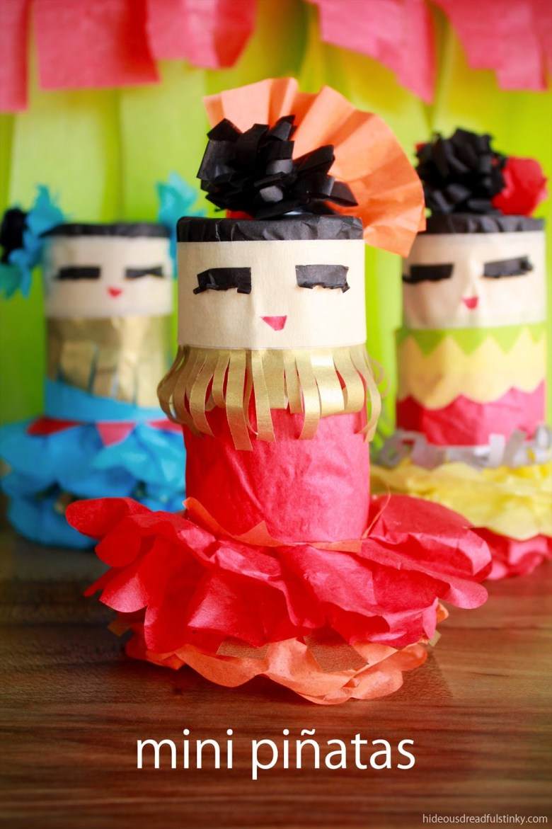 Dancing Girls Mini Pinatas craft for kids and other Latin American crafts to celebrate Hispanic Heritage Month