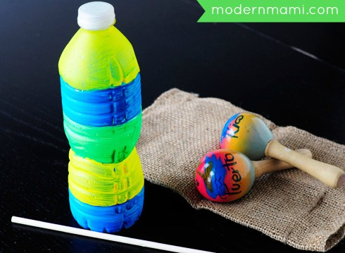 Water bottle Puerto Rican guiro craft for kids and other Latin American crafts to celebrate Hispanic Heritage Month