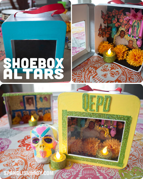Day of the Dead shoebox altar plus 15 easy Day of the Dead Crafts for kids. These make the perfect art project for kids to learn about Dia de los Muertos.