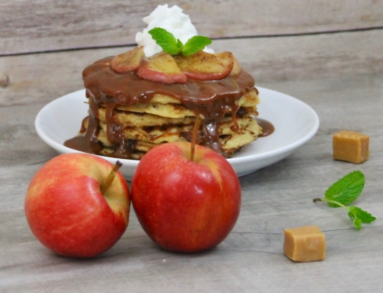 Caramel Apple and Cottage Cheese Pancakes
