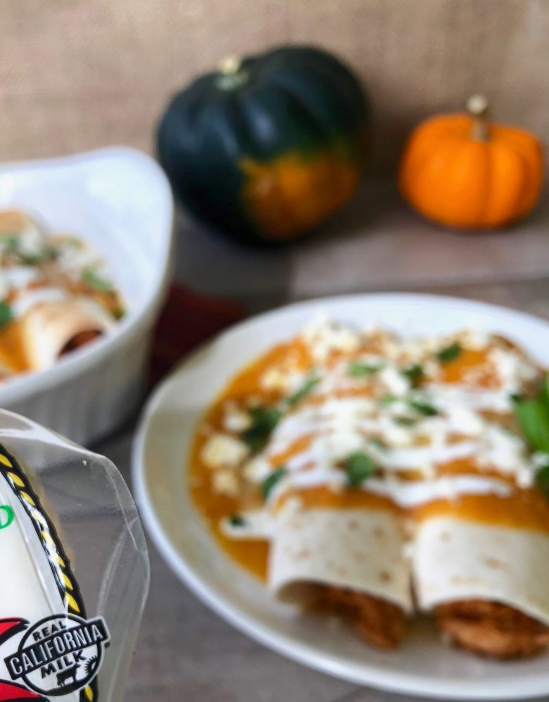 The best holiday enchiladas: Cheesy Chipotle Chicken Enchiladas with Pumpkin Squash Sauce