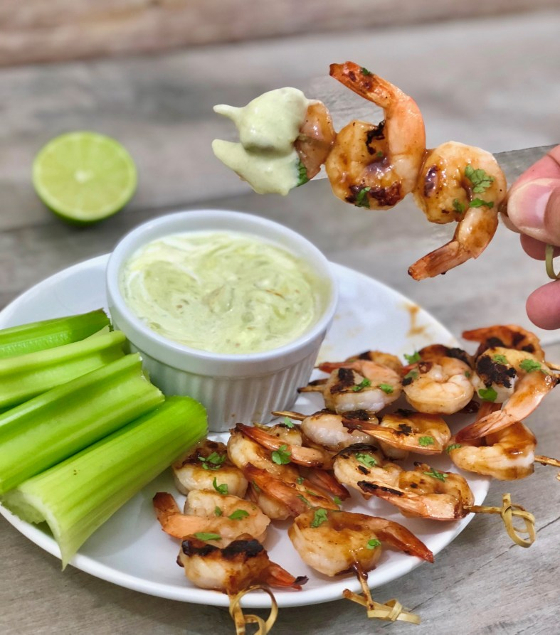 Chipotle Barbecue Shrimp Skewers with Blue Cheese Avocado Sauce