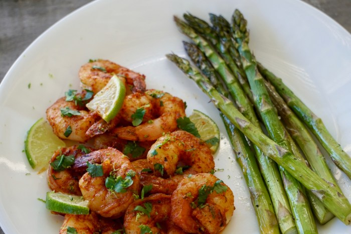 Chipotle Butter Shrimp and Lime Butter Asparagus