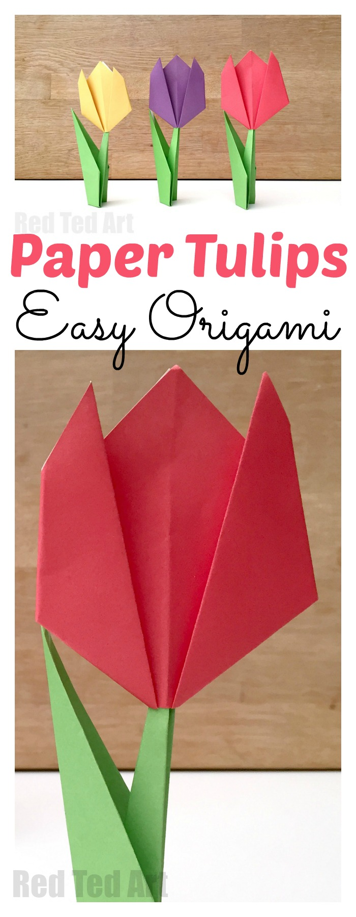 Easy Paper Tulip Origami and lots of other adorable and easy Mother's day craft for kids