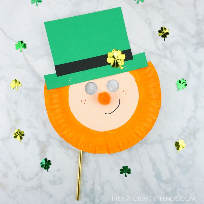 Paper Plate Leprechaun Mask St Patrick's Day craft for kids