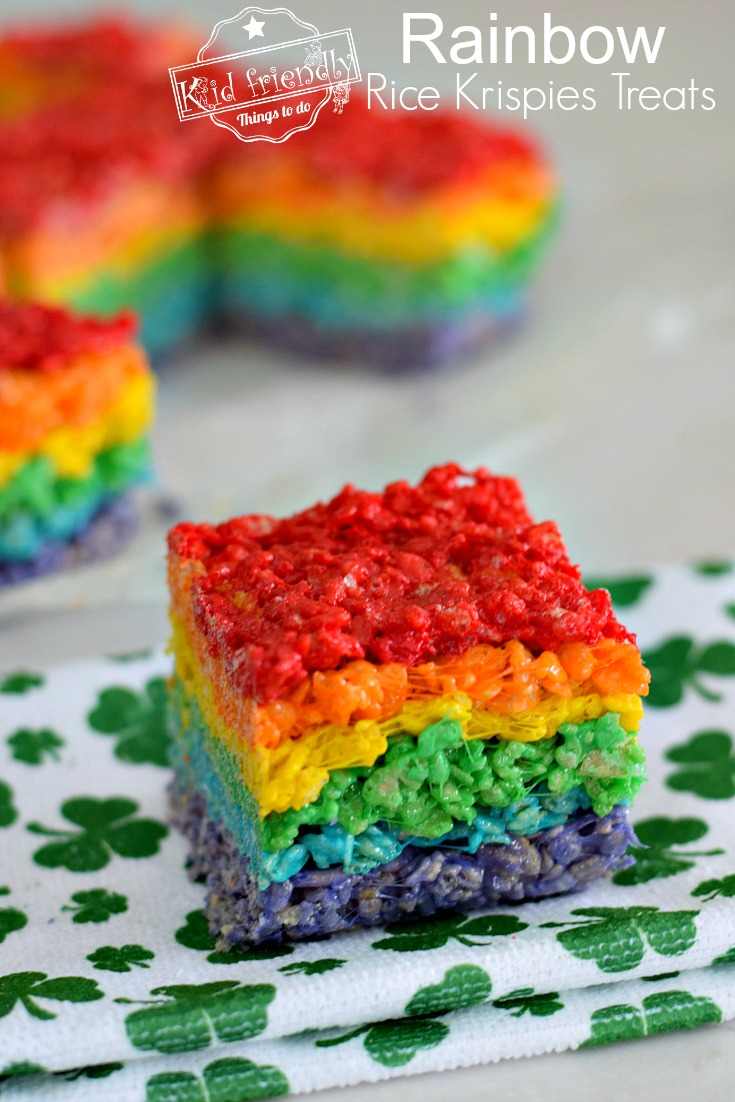 Rainbow Rice Krispies Treats and more delicious St Patricks day desserts