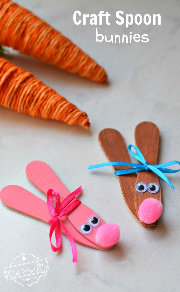 Wooden Spoon Bunnies and other fun and easy Easter crafts for kids
