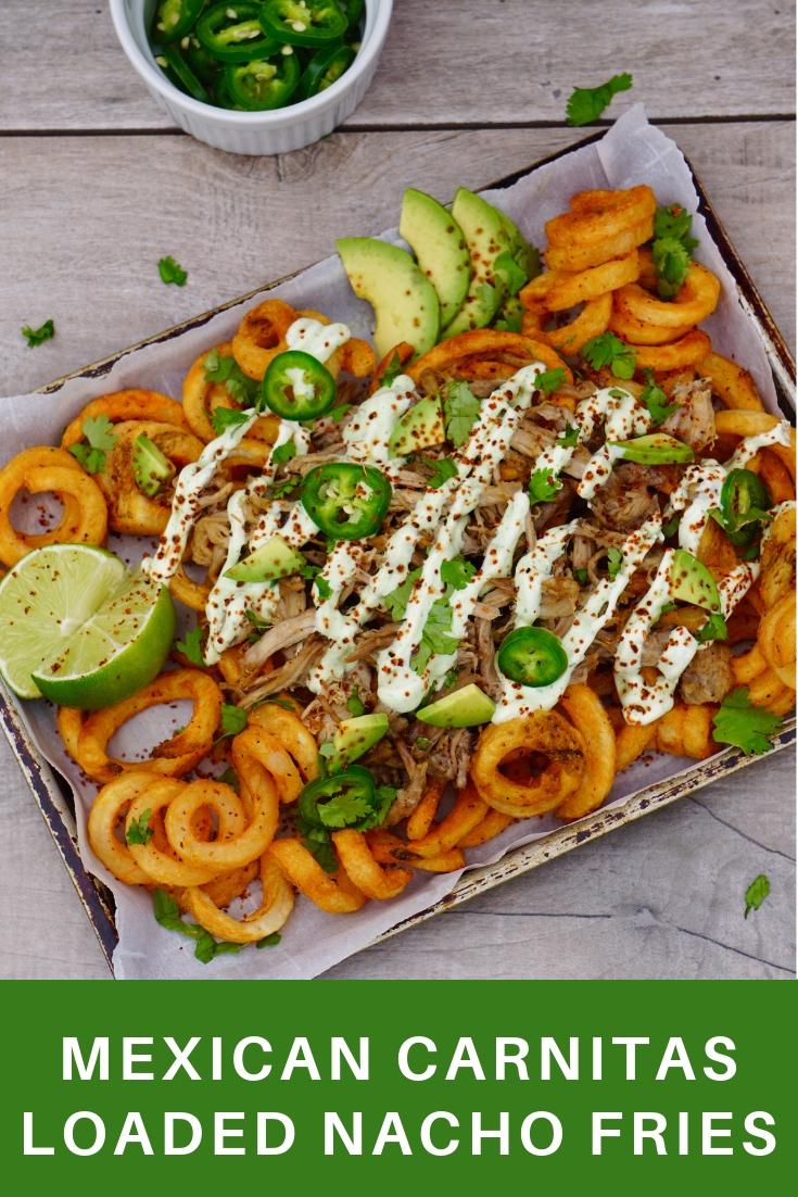 Mexican Carnitas Loaded Nacho Fries