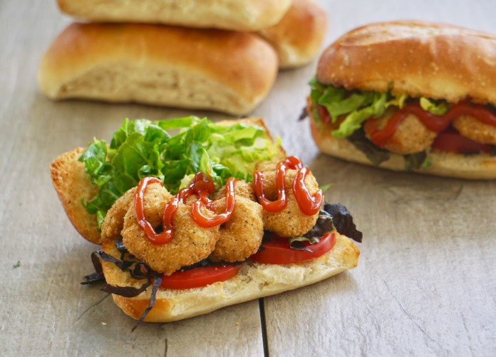 breaded shrimp sandwiches, this easy version of po' boys is ready in minutes!