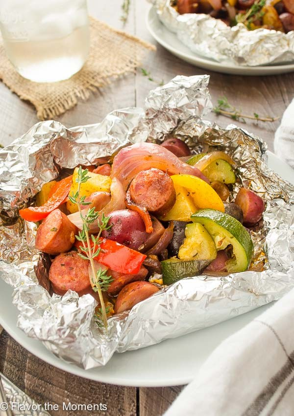 Sausage Pepper Potato Foil Packet and more simple and delicious camping recipes to make on the grill