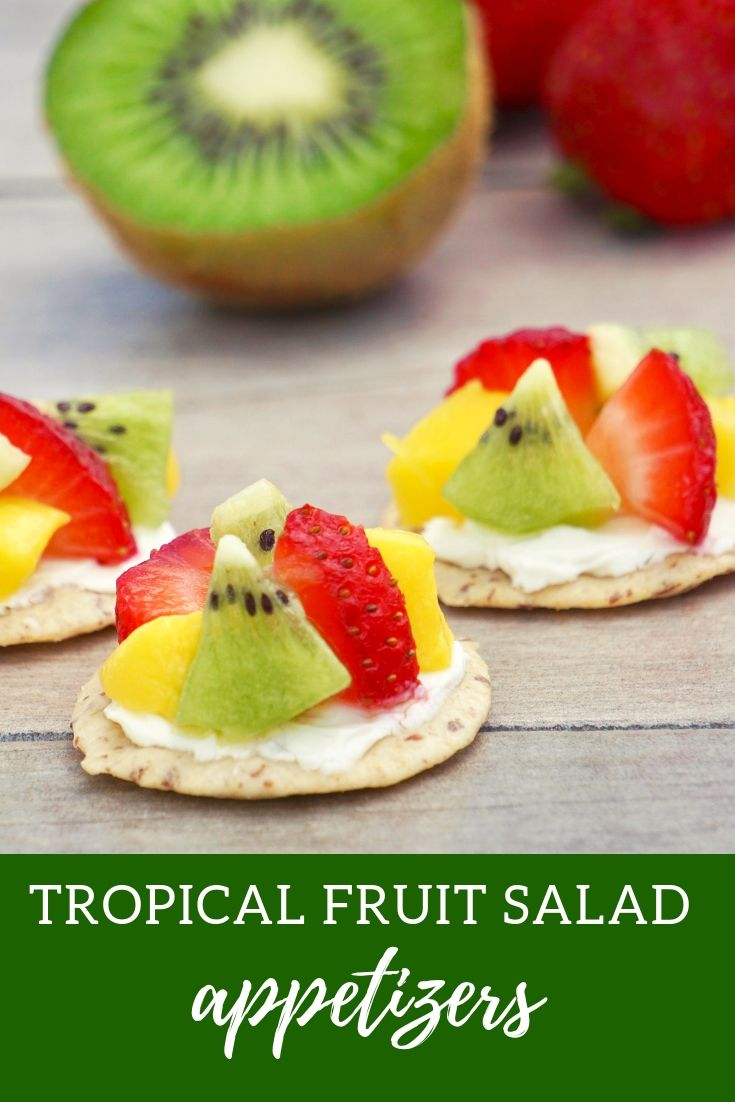 tropical fruit salad summer appetizer, gluten free and easy to make. Cracker topping ideas for summer.