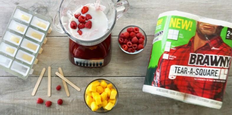 mango and raspberry popsicles
